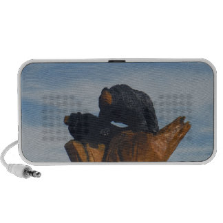Wooded Black Bearswith  Blue Smoky Mountains Sky Laptop Speakers