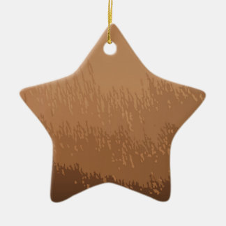 Wooded Brown Background Ceramic Star Decoration