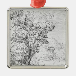 Wooded landscape christmas ornament