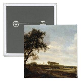 Wooded Landscape (oil on panel) 15 Cm Square Badge