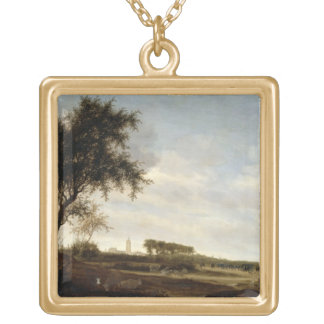 Wooded Landscape (oil on panel) Gold Plated Necklace