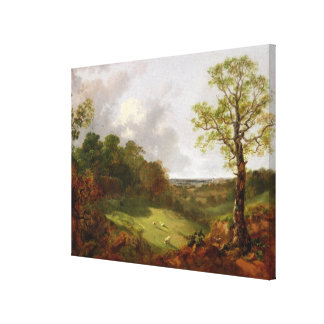 Wooded Landscape with a Cottage, Sheep and a Recli Canvas Print
