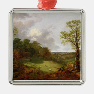 Wooded Landscape with a Cottage, Sheep and a Recli Christmas Ornament