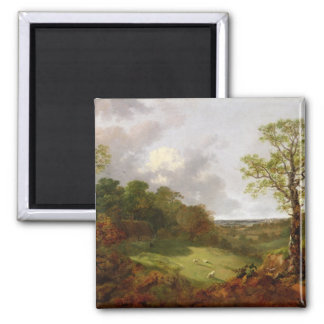 Wooded Landscape with a Cottage, Sheep and a Recli Square Magnet