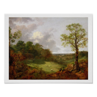 Wooded Landscape with a Cottage, Sheep and a Recli Print