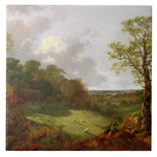 Wooded Landscape with a Cottage, Sheep and a Recli Tile