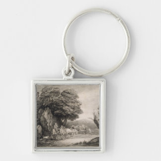 Wooded Landscape with Carts and Figures (etching o Silver-Colored Square Key Ring