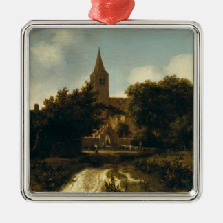 Wooded Landscape with Figures near a Church Christmas Ornament
