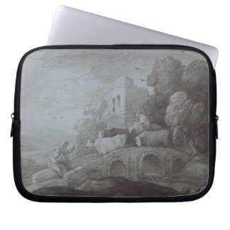 Wooded Landscape with Herdsman Driving Cattle (etc Computer Sleeves
