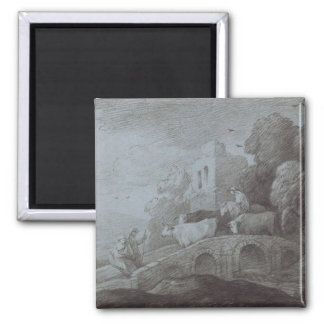 Wooded Landscape with Herdsman Driving Cattle (etc Square Magnet