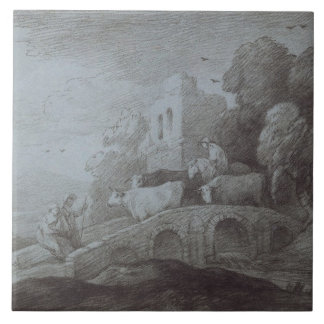 Wooded Landscape with Herdsman Driving Cattle (etc Tile
