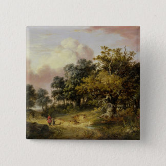 Wooded Landscape with Woman and Child Walking Down 15 Cm Square Badge