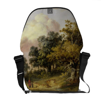 Wooded Landscape with Woman and Child Walking Down Commuter Bags