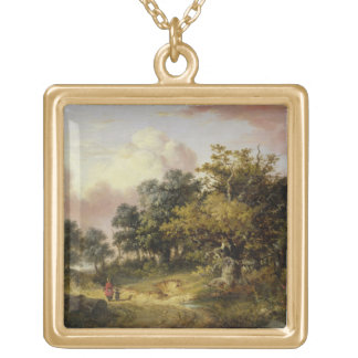 Wooded Landscape with Woman and Child Walking Down Gold Plated Necklace