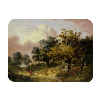 Wooded Landscape with Woman and Child Walking Down Magnet