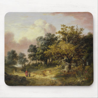 Wooded Landscape with Woman and Child Walking Down Mouse Mat