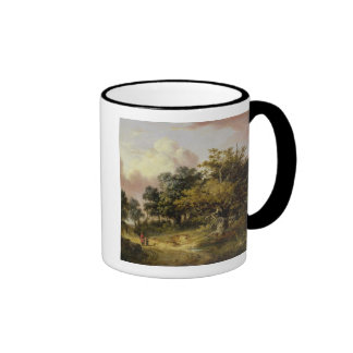 Wooded Landscape with Woman and Child Walking Down Mug