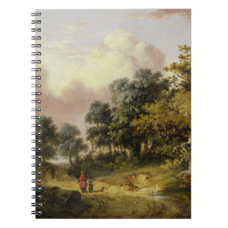 Wooded Landscape with Woman and Child Walking Down Spiral Notebook
