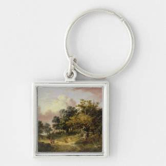 Wooded Landscape with Woman and Child Walking Down Silver-Colored Square Key Ring