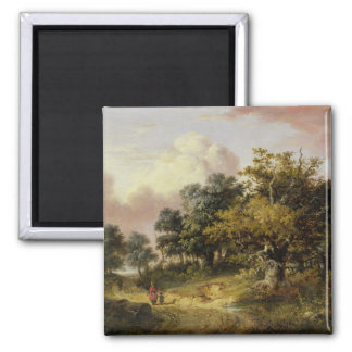 Wooded Landscape with Woman and Child Walking Down Square Magnet