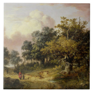 Wooded Landscape with Woman and Child Walking Down Tile