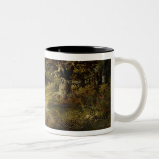 Wooded Landscape with Woman and Child Walking Down Two-Tone Coffee Mug