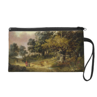 Wooded Landscape with Woman and Child Walking Down Wristlet