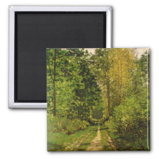 Wooded Path, 1865 (oil on canvas) Square Magnet