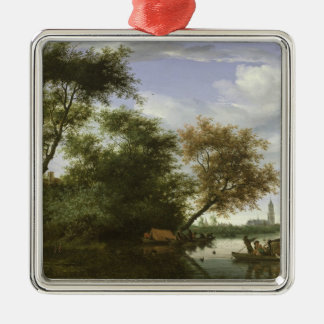 Wooded river landscape christmas ornament