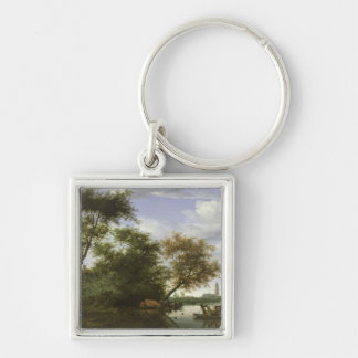Wooded river landscape Silver-Colored square key ring