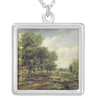 Wooded river landscape silver plated necklace