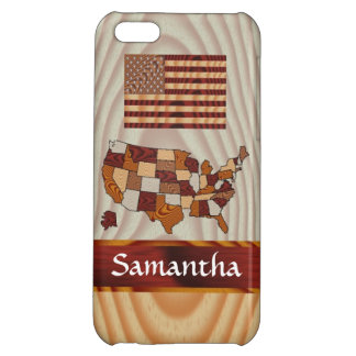 Wooden American flag and map Cover For iPhone 5C
