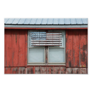 Wooden American Flag on Red Barn in Vermont Poster