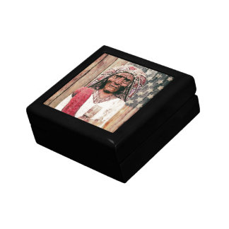 Wooden Antique Cigar Store Indian Small Square Gift Box