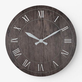 Wooden Antique Roman Numeral Round Wall Clock