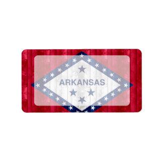 Wooden Arkansan Flag Address Label