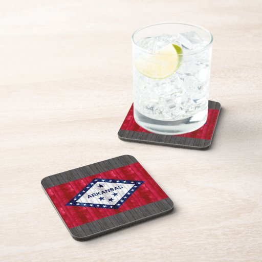 Wooden Arkansan Flag Beverage Coasters