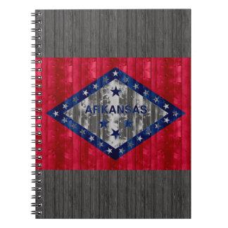 Wooden Arkansan Flag Spiral Note Book