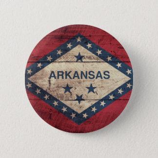 Wooden Arkansas Flag 6 Cm Round Badge