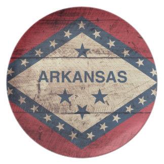 Wooden Arkansas Flag Plates
