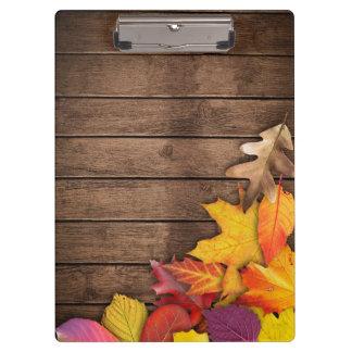Wooden Autumn Background Modern Elegant Clipboard