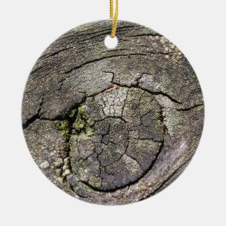 wooden background round ceramic decoration