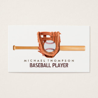 Wooden Baseball Bat, Ball and Glove, Baseball Business Card