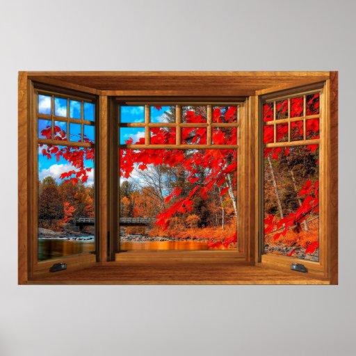 Wooden Bay Window Illusion - Autumn Landscape Poster