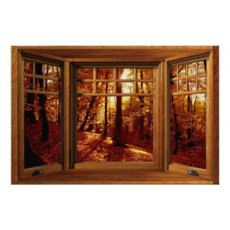 Wooden Bay Window Illusion - Autumn View Poster