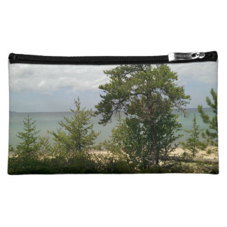 wooden beach cosmetic bags