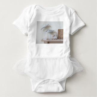Wooden birds and birch sheep baby bodysuit
