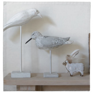 Wooden birds and birch sheep printed napkin