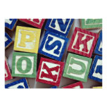 Wooden blocks with alphabets for kids personalized invitations