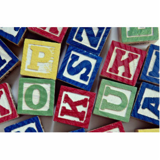 Wooden blocks with alphabets for kids standing photo sculpture
